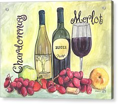 Watercolor Wine Acrylic Print by Debbie DeWitt