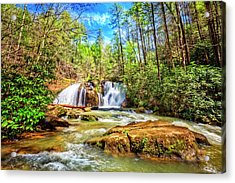 Waterfall In The Smoky Mountains Acrylic Print by Debra and Dave Vanderlaan