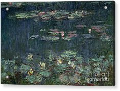 Waterlilies Green Reflections Acrylic Print by Claude Monet