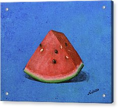 Watermelon Acrylic Print by Nancy Otey