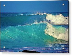 Waves And Surfer In Morning Light Acrylic Print by Bette Phelan
