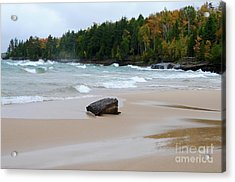 Waves Roll On Au Train Bay Acrylic Print by Sandra Updyke