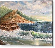 Wavy Pacific Hawaii  Acrylic Print by Viktoriya Sirris