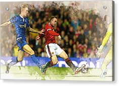 Wayne Rooney Of Manchester United Scores Acrylic Print by Don Kuing