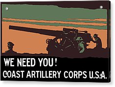 We Need You - Coast Artillery Corps Usa Acrylic Print by War Is Hell Store