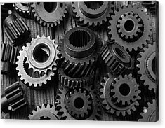 Weathered Worn Gears Acrylic Print by Garry Gay