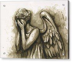 Weeping Angel Acrylic Print by Olga Shvartsur