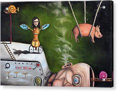 Weird Science-the Robot Factory Acrylic Print by Leah Saulnier The Painting Maniac