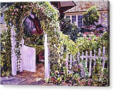 Welcome Rose Covered Gate Acrylic Print by David Lloyd Glover