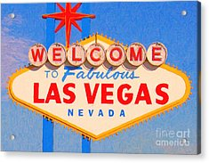 Welcome To Fabulous Las Vegas Nevada Acrylic Print by Wingsdomain Art and Photography