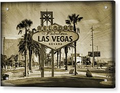 Welcome To Las Vegas Series Sepia Grunge Acrylic Print by Ricky Barnard