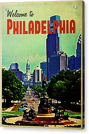 Welcome To Philadelphia Acrylic Print by Flo Karp