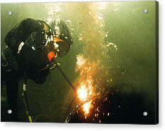 Welding Underwater Acrylic Print by Peter Scoones
