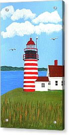 West Quoddy Head Lighthouse Painting Acrylic Print by Frederic Kohli