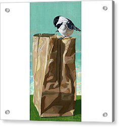 What's In The Bag Original Painting Acrylic Print by Linda Apple