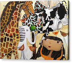 When Giraffes Were Big Acrylic Print by Yelena Revis