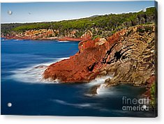 Where Blue Water Meets Red Rock Acrylic Print by Russ Brown