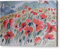 Where Poppies Grow Acrylic Print by Barbara McMahon