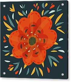 Whimsical Decorative Orange Flower Acrylic Print by Boriana Giormova