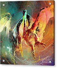 Whirled In Digital Rainbow Acrylic Print by Miki De Goodaboom