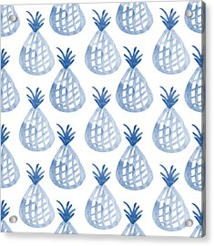 White And Blue Pineapple Party Acrylic Print by Linda Woods