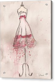 White And Pink Party Dress Acrylic Print by Lauren Maurer