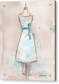 White And Teal Dress Acrylic Print by Lauren Maurer