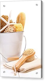 White Bucket Filled With Sponges And Scrub Brushes  Acrylic Print by Sandra Cunningham