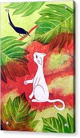 White Cat Black Bird Acrylic Print by Susan Greenwood Lindsay
