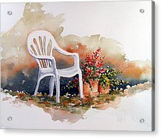 White Chair With Flower Pots Acrylic Print by Sam Sidders