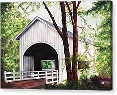 White Covered Bridge Acrylic Print by Yvonne Hazelton