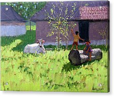 White Cow And Two Children Acrylic Print by Andrew Macara