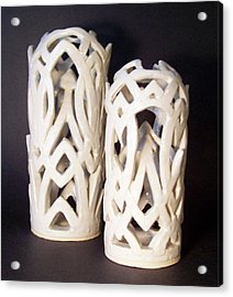 White Interlaced Sculptures Acrylic Print by Carolyn Coffey Wallace