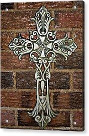 White Iron Cross 1 Acrylic Print by Angelina Vick