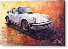White Red Legend Porsche 911 Carrera Acrylic Print by Yuriy Shevchuk