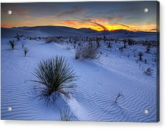 White Sands Sunset Acrylic Print by Peter Tellone