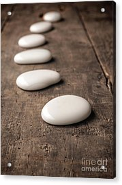 White Stones On Wood Acrylic Print by Andreas Berheide