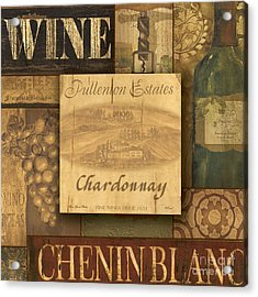 White Wine Collage Acrylic Print by Grace Pullen