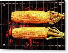 Whole Corn On Grill Acrylic Print by Johan Swanepoel