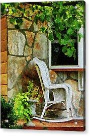 Wicker Rocking Chair On Porch Acrylic Print by Susan Savad