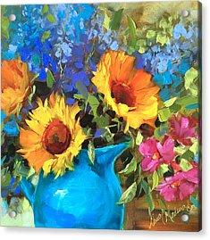Wild Garden Sunflowers Acrylic Print by Nancy Medina