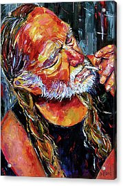 Willie Nelson Booger Red Acrylic Print by Debra Hurd