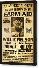 Willie Nelson Neil Young 1985 Farm Aid Poster Acrylic Print by John Stephens