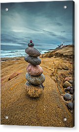 Windansea Cairn Acrylic Print by Peter Tellone