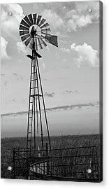 Windmill In Monochrome Acrylic Print by Tony Grider