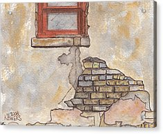 Window With Crumbling Plaster Acrylic Print by Ken Powers