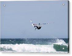 Windsurfer Jumping Waves At Jalama Acrylic Print by Rich Reid