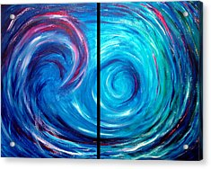 Windswept Blue Wave And Whirlpool 2 Acrylic Print by Nancy Mueller