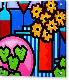 Wine Apples Flowers Acrylic Print by John  Nolan