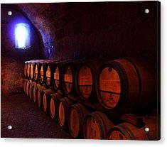 Wine Barrels In Napa Acrylic Print by Brian M Lumley